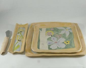 Yellow Dinner Plate Set, Save the Bees Serving dish, Square Plate, Snack trays side dish, sandwich plate, Colorado Pottery and Ceramics