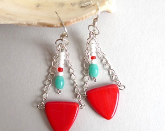 minimal tribal earrings navajo style - matte triangle glass beads - red, turquoise, white - sterling silver - tribal geometric dangle