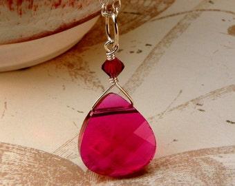 Ruby Crystal Necklace, Red Teardrop Swarovski Pendant, Sterling Silver, Wedding Bridesmaids Necklace, July Birthstone Jewelry, Handmade