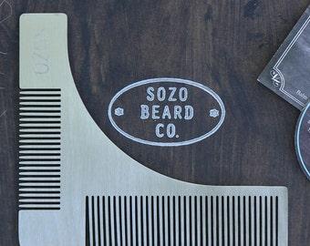 Stainless Steel Beard Shaping Tool Comb + Sozo Beard Co. Sticker