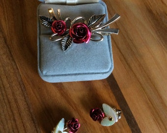 Red Rose Brooch and Earrings Set