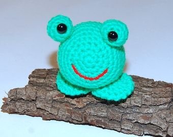 Crocheted Toy Frog Amigurumi Stuffed Animal Green & Red with Black Safety Eyes