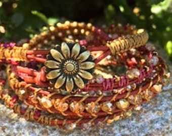 Sunflower Red and Gold Wrap Bracelet