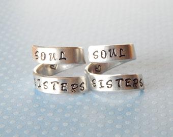 Soul Sisters Aluminum Rings Set Gift Under 20  Hand Stamped Aluminum