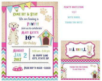 Puppy Party Invitation , Puppy Birthday Party , Puppy Party Invitation, Dog party, puppy birthday invitation, personalized for you