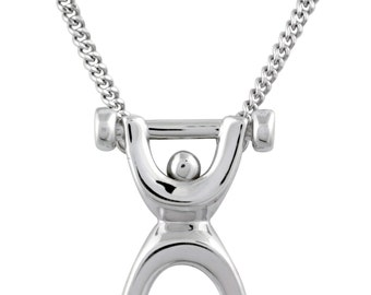 Sterling Silver Weightlifter Necklace and Barbell