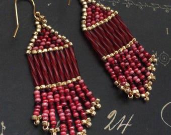 Small Beaded Wine Berries Fringe Seed Bead Earrings Beaded Dangle Earrings