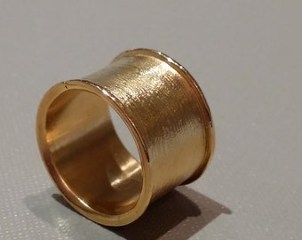 Wide gold  band ring. Gold cuff ring.Statement ring. Gold jewellery, handmade.