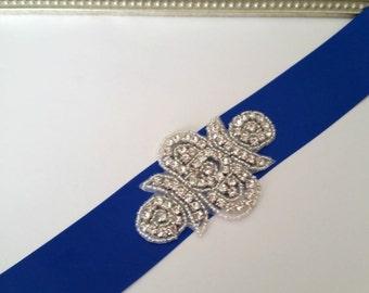 Rhinestone Bridal Belt, Blue Bridal Belt, Bridal Sash, Wedding Sash