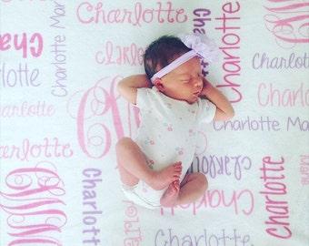 SALE! Baby Girl Blanket Personalize Baby Blanket Monogram Baby Blanket Name Blanket Swaddle Receiving Blanket Baby Shower Gift