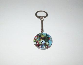 Vintage 1950s 1960s Enamel Key Chain Keychain / 50s 60s Multi-Color Enamel Keychain Key Ring