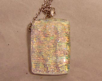 Fused Dichroic Glass Pendant Necklace ~Pink Yellow Green Blue Opal Glass