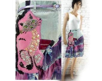 grunge skirt - Purple skirt - Women kitty skirt - retro style skirt - Upcycled skirt , designer skirt, women's skirt,  Size 16-# 13