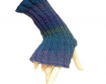 Wool Knitted Ocean Turquoise Mittens Fingerless Gloves Hand Warmers