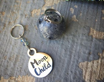 SALE Moon Child, Moon Wild: Set of 2 Moon Stitch Markers for Knitters & Crocheters