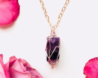 Rainbow Fluorite Crystal Point Freedom   Necklace