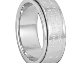 7MM Serentiy Prayer Spinner Ring Men's Women's or Child's Stainless Steel Band with Inside Custom Engraving