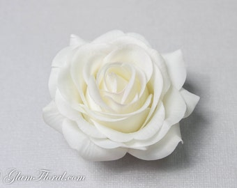 Creme White Rose Hair Clip, Real Touch Wedding Hair Fascinator Hair Head Piece. bridesmaids, prom Real Touch Flowers. Tea Rose Collection