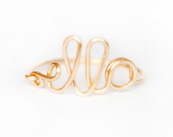 Gold or Silver Plated Wire Name Ring