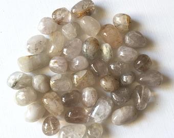15 x 8mm, 6x8mm Rutilated Quartz Smooth Medium Nugget Beads