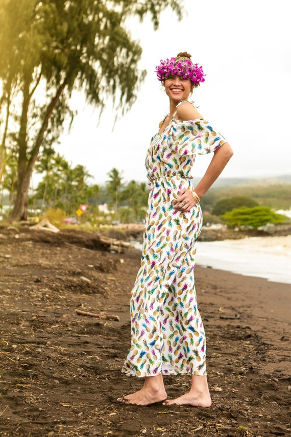 Camilla Cold Shoulder Maxi Dress / Exclusive Rainbow Pineapple Print