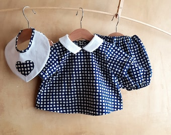 Baby Sailor outfit nautical style set, classic summer blue matching outfit, baby boy suit, baby girl dress, newborn photo prop baby shower