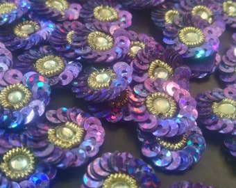 Indian Designer Sewing Beaded Dress Decor Purple Beaded Appliques Round Floral Design Crafting Sewing Bullion Beaded Patches 12 Pcs APP35
