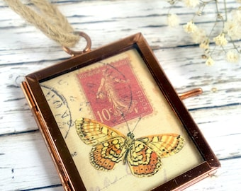 Copper hanging frame Original butterfly art Vintage style original butterfly collage in frame Mini art Mini frame Mother's day Gift for her