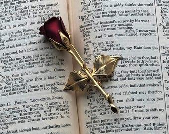 Vintage Deep Red Rose Brooch Pin 1980's