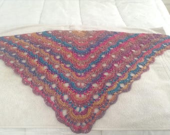 Beautiful northern lights hand crochet ladies shawl