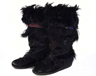 Vintage 80's FREE MONTEBELLO Black Pony Hair & Pure New Wool Boots Made in Italy Size 7