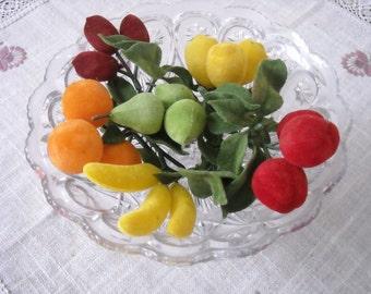 Vintage Flocked Fruit - Apples, Bananas, Lemons, Oranges, Pears, Plums