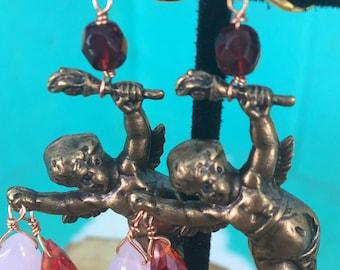 "Dangle Earrings ""Naughty Cherub"" Vintage Assemblage, Art Nouveau Repurposed brass stampings, chain, freshwater pearls, rose quartz, OOAK"