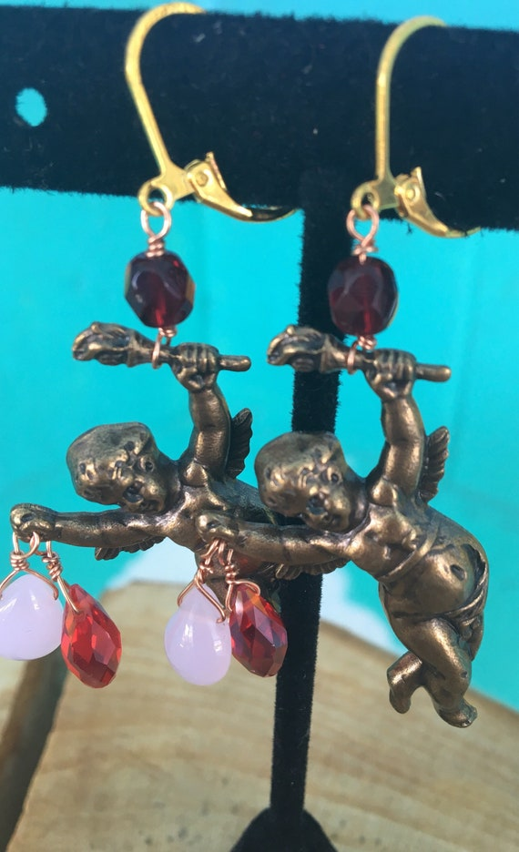 "Dangle Earrings ""Naughty Cherub"" Vintage Assemblage, Art Nouveau Repurposed brass stampings, chain, freshwater pearls, rose quartz, OOAK"
