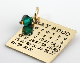 Calendar Charm - hand stamped gold filled Mark Your Calendar charm