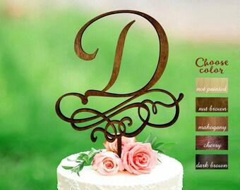 Letter d cake topper, wedding cake topper, rustic cake topper, personalized cake topper, letter cake topper, monogram cake topper, CT#265