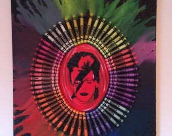 David Bowie/ Ziggy Stardust inspired mixed media melted crayon art