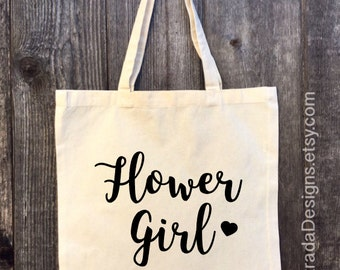 Flower Girl Tote Bag, Bridal Tote, Bride Bag, Bridesmaid Tote, Bridesmaid Bag, Personalized Tote,  Bachelorette Tote,  Wedding Tote