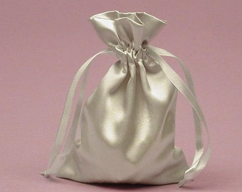 Large Silver Satin Gift Bag