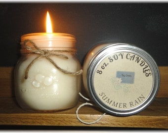 Summer Rain 8 oz Soy Candle, Soy Wax Candle, Fresh scent, clean scent, earthy scent, floral scent, summer scent, aromatherapy candle