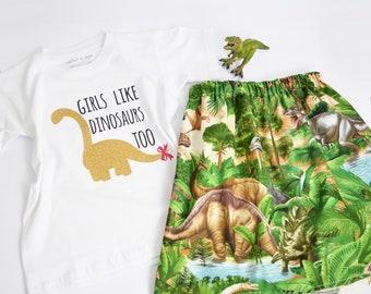 Girls Like DInosaurs Too Top & Skirt Set/Dinosauroutfit/Girls Dinosaur Outfit/Dinosaur Skirt/Dinosaur Dress/Girls Love DInosaurs Too Skirt