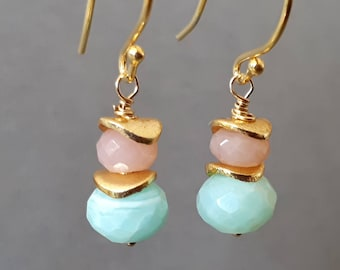 Peruvian opal earrings, October wife gift, earrings opal gold, blue Peruvian opal earrings, October birthstone earrings, girlfriend gift