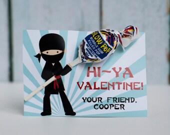 Custom Printable Ninja Lollipop Kids Valentine
