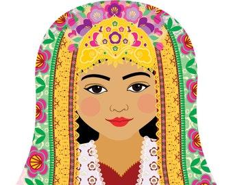 Uzbek Wall Art Print featuring culturally traditional dress drawn in a Russian matryoshka nesting doll shape