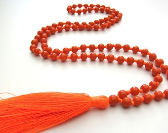 Orange Beaded Tassel Necklace, Hand Knotted Long Tassel Necklace, Silk Tassel Mala, Long Silk Tassel, Indian Silk Tassel,Orange Glass Beads