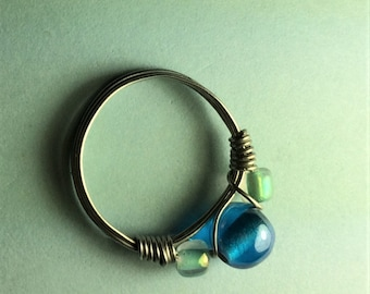Size 7 Blue Glass Beads Wire Wrapped Ring