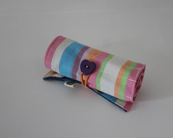Crayon Roll, Orange, lavender, blue and white stripes Kikoy, Take-along Crayons