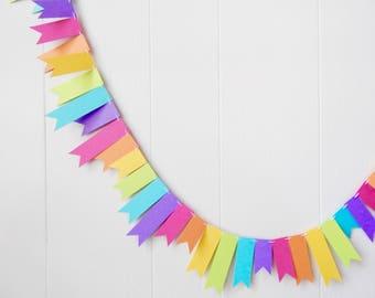 Rainbow Flag Garland - Nursery Decor - Kids Room- Classroom Decoration - Party - Birthday - Photo Prop