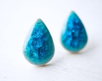 Blue Ceramic Teardrop Stud Earrings