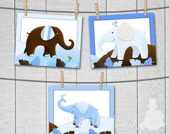 Set of 3 Blue and Brown Elephant Boy Baby Nursery Kids Bedroom 8 x 10 Wall Art Prints